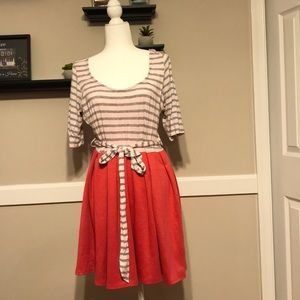 Dress with striped top and coral skirt